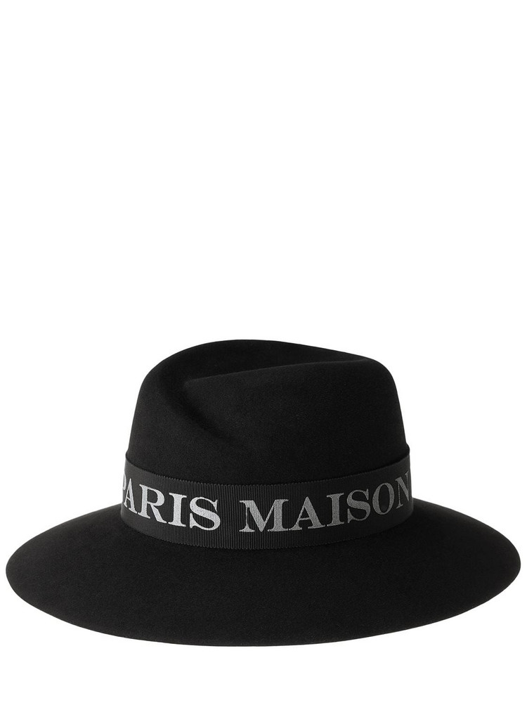 MAISON MICHEL Virginie Platinum Logo Felted Wool Hat in black