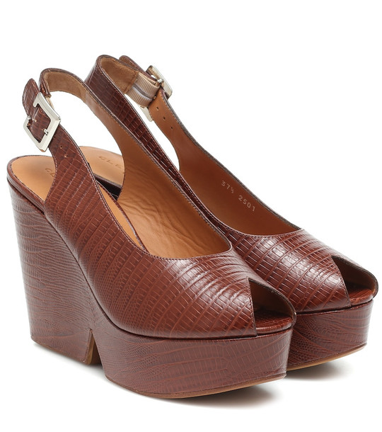 Clergerie Exclusive to Mytheresa – Dylan lizard-effect leather sandals in brown