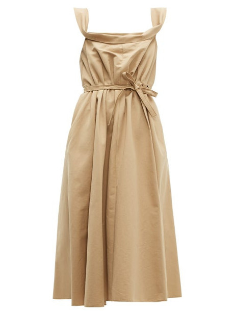 Brock Collection - Patti Cowl Neck Cotton Faille Midi Dress - Womens - Beige