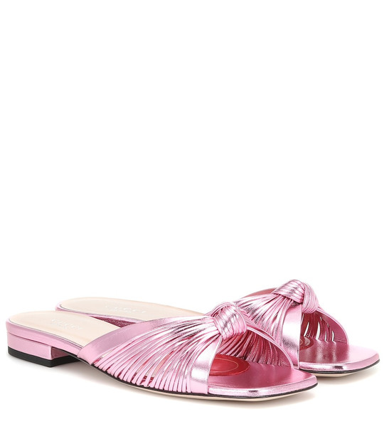 Gucci Crawford leather slide sandals in pink
