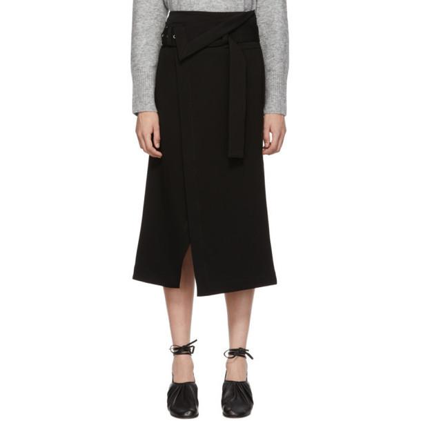 3.1 Phillip Lim Black Twill Wrap Skirt