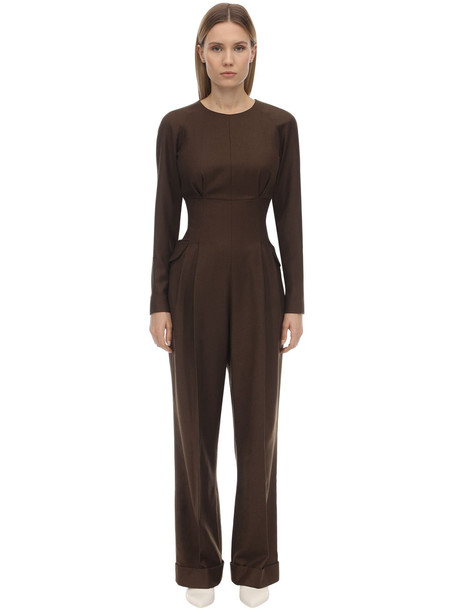 EMILIA WICKSTEAD Long Virgin Wool Gabardine Jumpsuit in brown