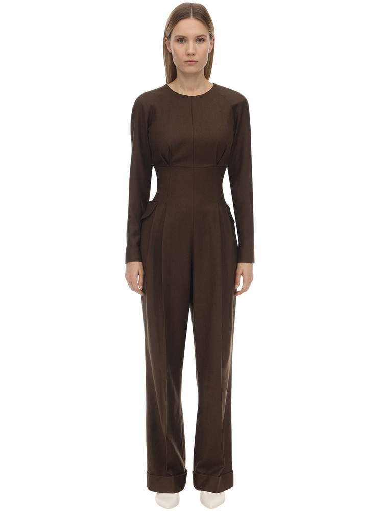 EMILIA WICKSTEAD Long Virgin Wool Gabardine Jumpsuit in brown
