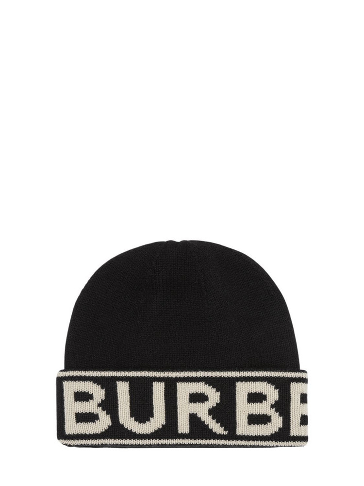 BURBERRY Cashmere Knit Beanie W/ Logo in black