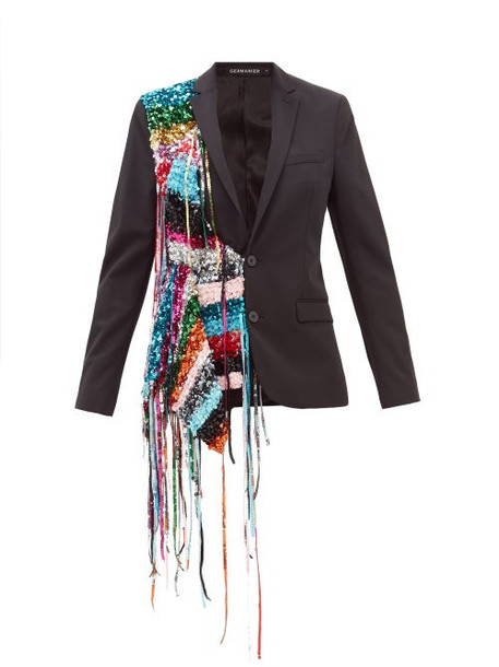 Germanier - Sequin Strand Twill Blazer - Womens - Black Multi