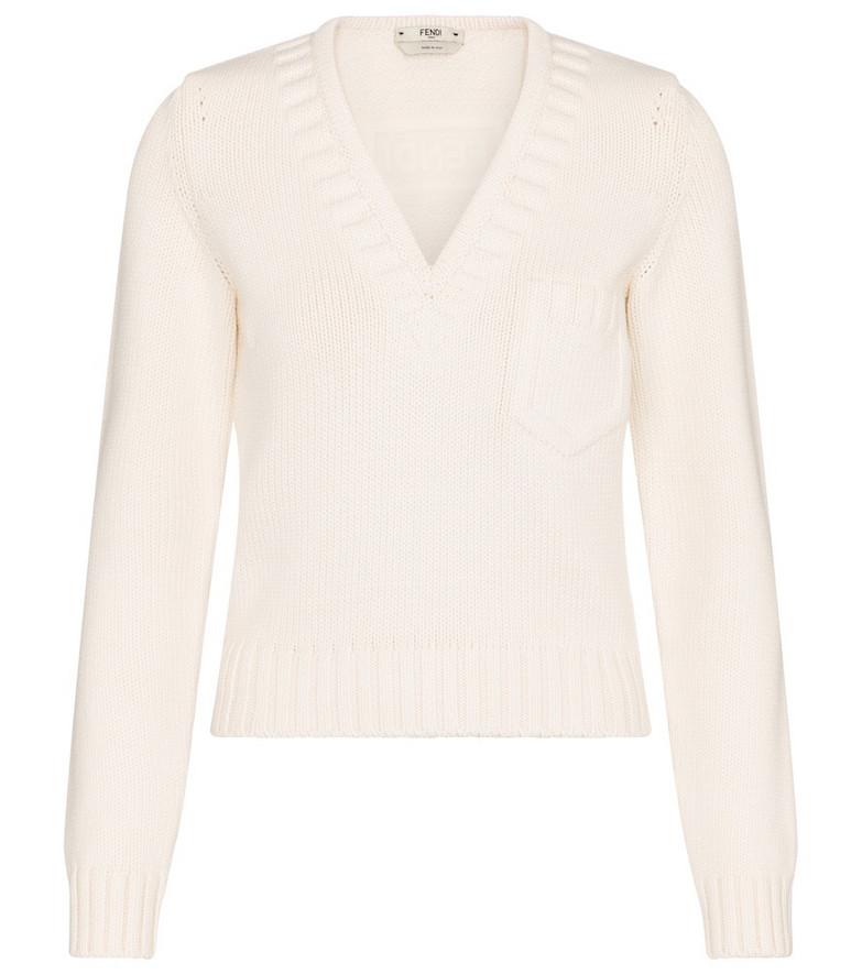 Fendi Cotton-blend sweater in white