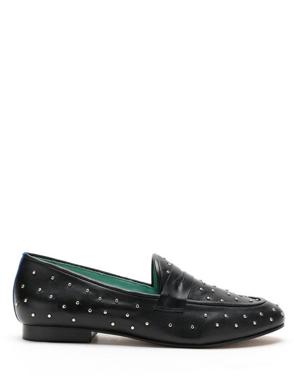 Blue Bird Shoes studded slip-on leather loafers in black