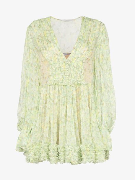 Stella McCartney ruffle printed mini dress in green
