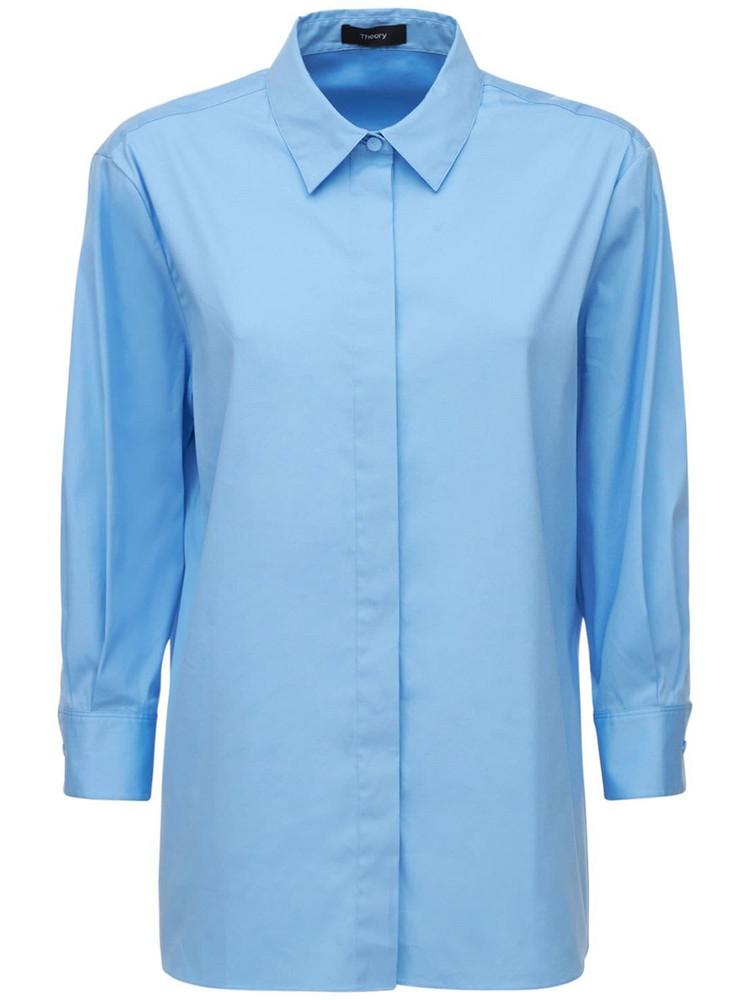 THEORY Classic Poplin Shirt in blue