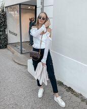 pants,cargo pants,black pants,sneakers,white blouse,off the shoulder,louis vuitton bag