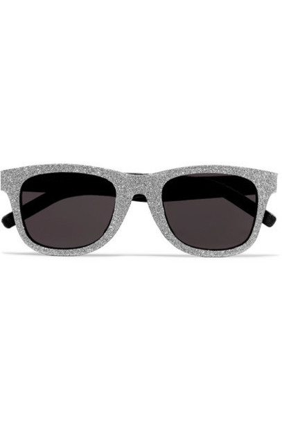 SAINT LAURENT - Square-frame Glittered Acetate And Leather Sunglasses - Silver