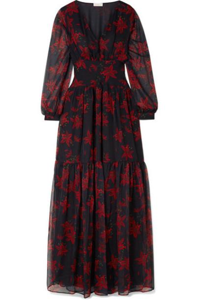 Eywasouls Malibu - Lola Printed Chiffon Maxi Dress - Navy