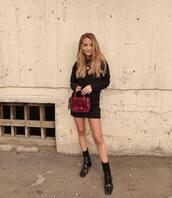 bag,transparent  bag,ankle boots,patent boots,black dress,mini dress,long dress