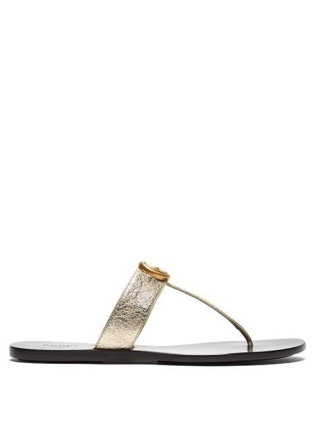 Gucci - Gg Marmont Flat Leather Sandals - Womens - Gold
