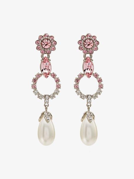 Miu Miu crystal-embellished drop earrings in rose / white
