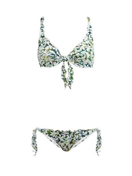 On The Island - Los Roques Floral Print Bikini - Womens - Green Print