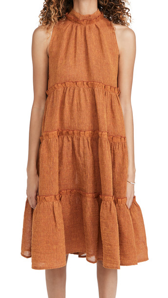 Lisa Marie Fernandez Erica Ruffle Midi Dress in orange