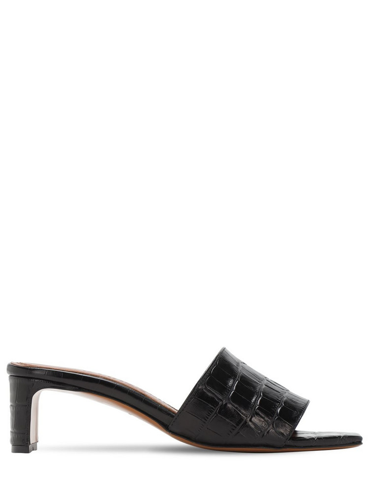 SOULIERS MARTINEZ 50mm Croc Embossed Leather Sandals in black