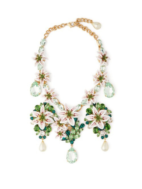Dolce & Gabbana - Lily And Crystal Embellished Necklace - Womens - Gold