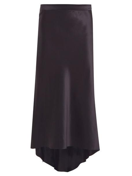Raey - Bias Godet Silk Satin Midi Slip Skirt - Womens - Dark Navy