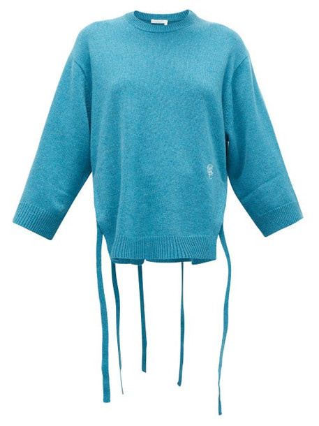 Chloé Chloé - Monogram-embroidered Side-ties Cashmere Sweater - Womens - Mid Blue