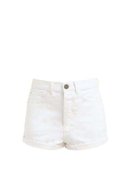 Raey - Low Cut Off Denim Shorts - Womens - White