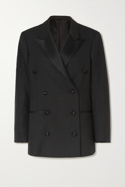 Totême - Loreo Oversized Double-breasted Silk Blend-trimmed Twill Blazer - Black