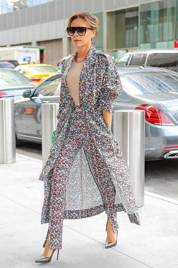 coat floral pants pumps victoria beckham celebrity spring outfits trench coat
