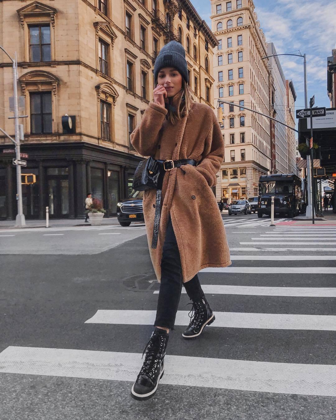 coat teddy bear coat black boots black skinny jeans black bag belt bag beanie