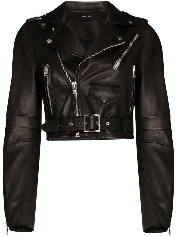 AMIRI cropped biker jacket in black