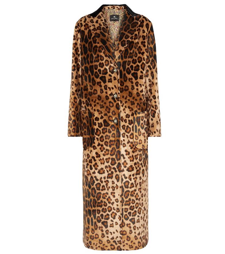 ETRO Leopard-print velvet coat in brown