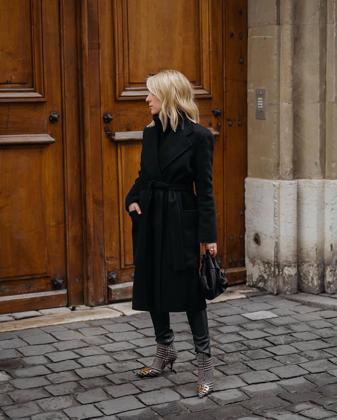 coat black coat long coat acne studios plaid heel boots balenciaga handbag black bag leather pants turtleneck sweater black sweater