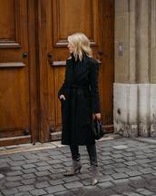 coat,black coat,long coat,acne studios,plaid,heel boots,balenciaga,handbag,black bag,leather pants,turtleneck sweater,black sweater