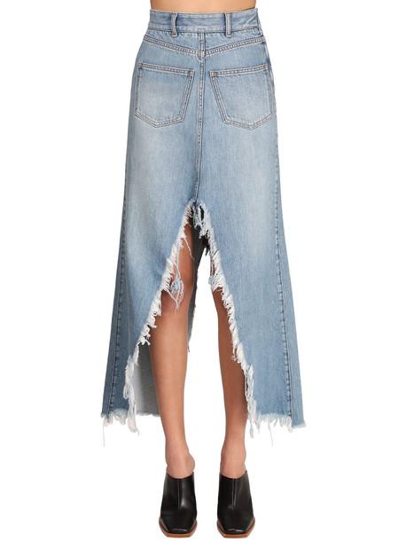 GIVENCHY Cotton Denim Long Skirt