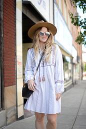blonde bedhead,blogger,dress,hat,bag
