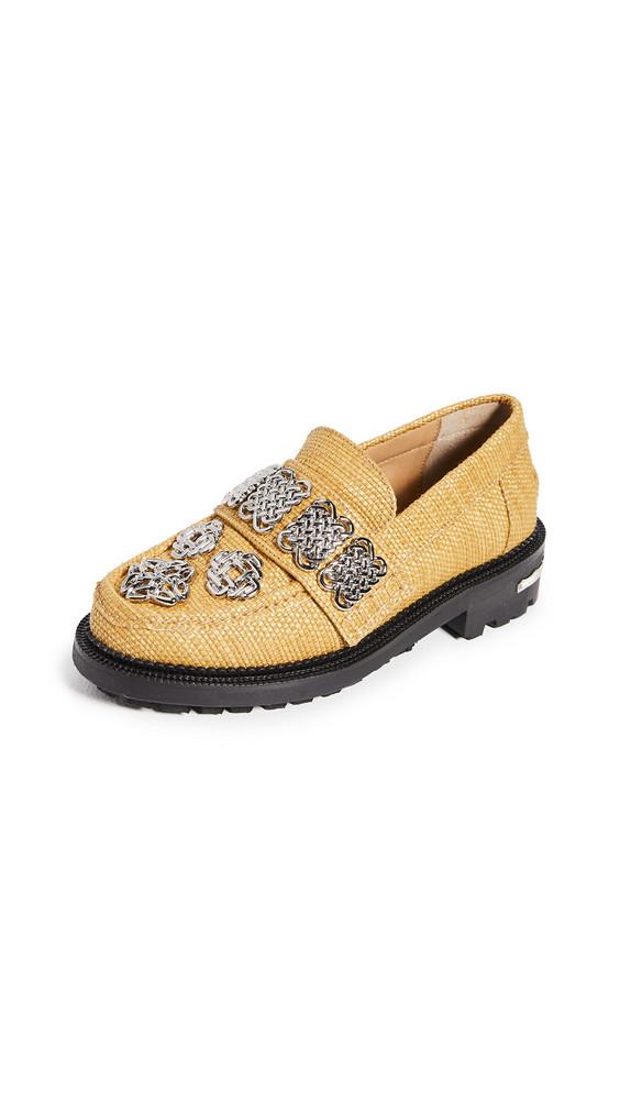 Toga Pulla Embellished Raffia Loafers in mustard