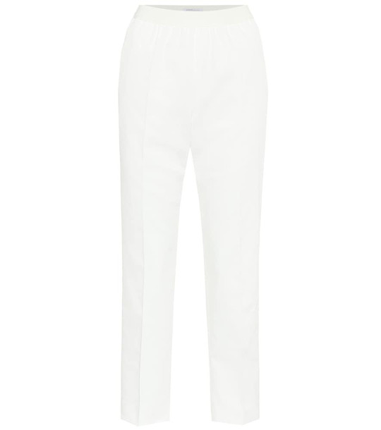 Agnona High-rise straight twill pants in white