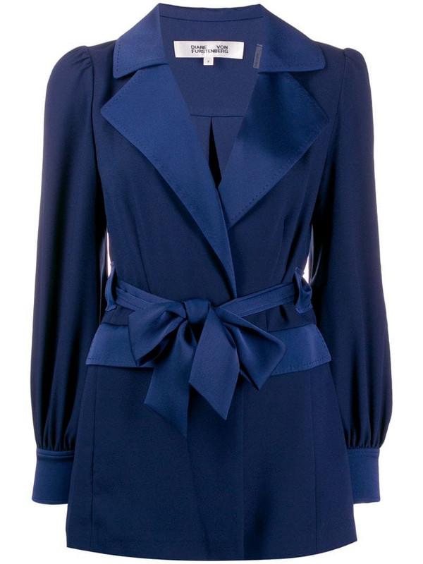 DVF Diane von Furstenberg Stassie satin crepe drawstring jacket in blue