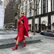 coat,red coat,midi skirt,turtleneck,ankle boots,black bag