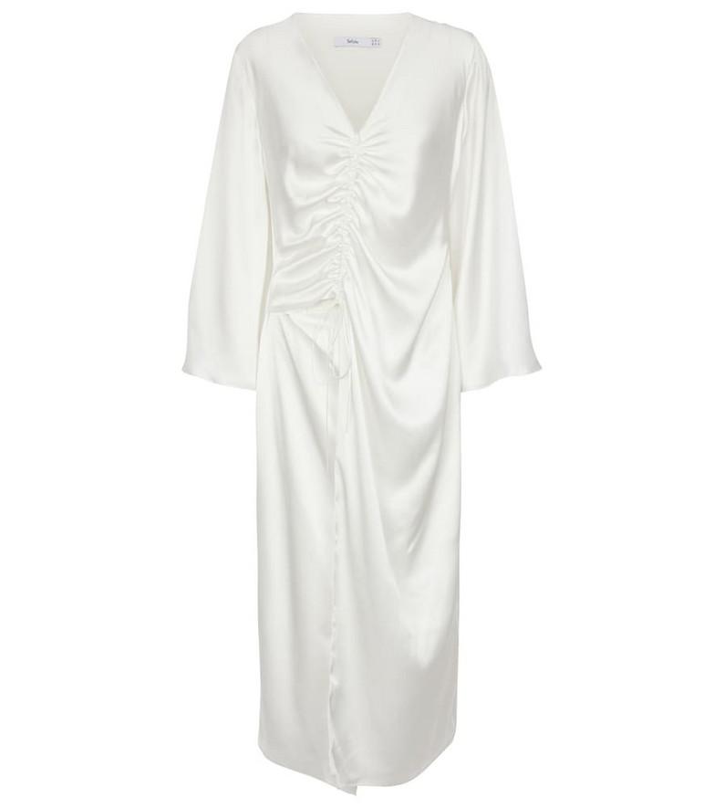Safiyaa Silk satin midi dress in white