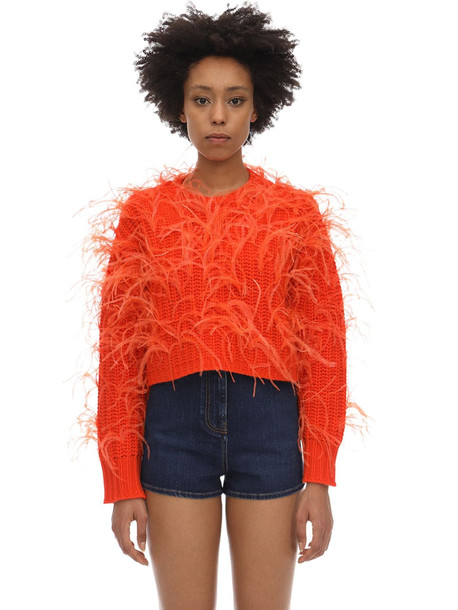 VALENTINO Cropped Wool Blend Sweater W/feathers in orange