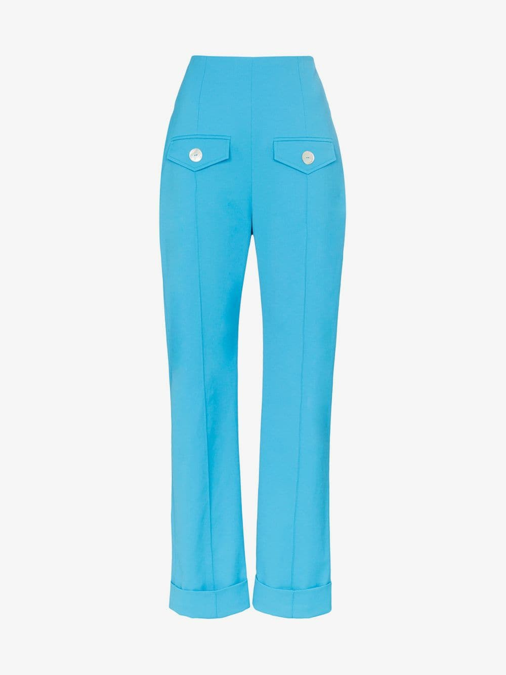 George Keburia high-waisted pocket detail straight leg trousers in blue