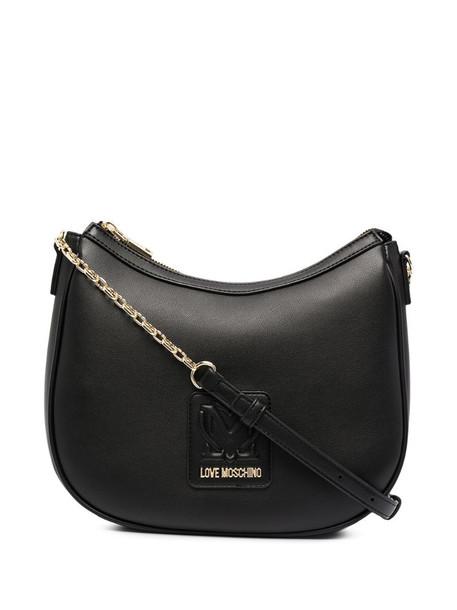 Love Moschino logo-patch hobo bag in black