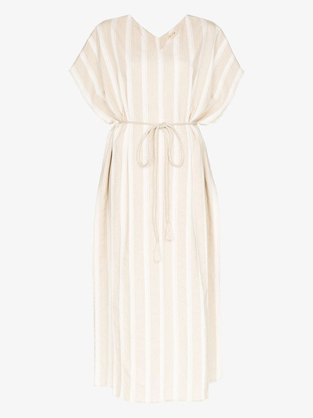 Missing You Already striped linen and cotton kaftan dress in neutrals