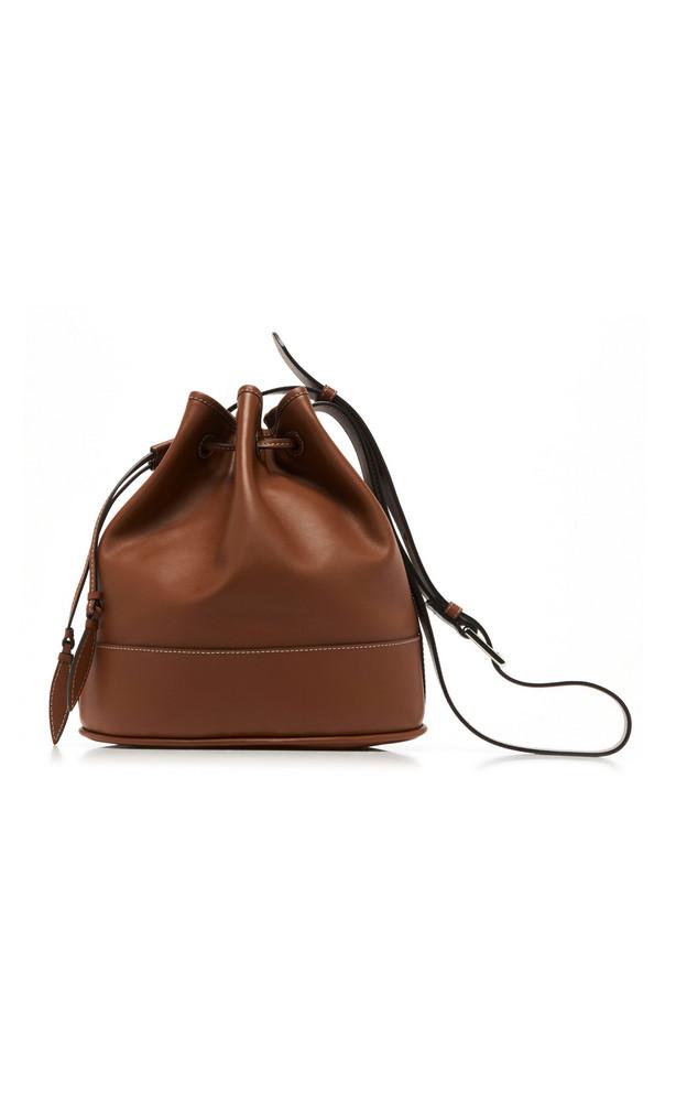 Hunting Season Drawstring Leather Shoulder Bag in brown