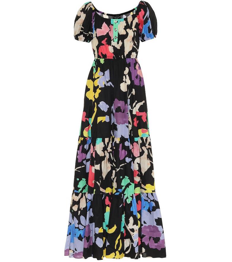 Caroline Constas Bardot floral poplin maxi dress in black