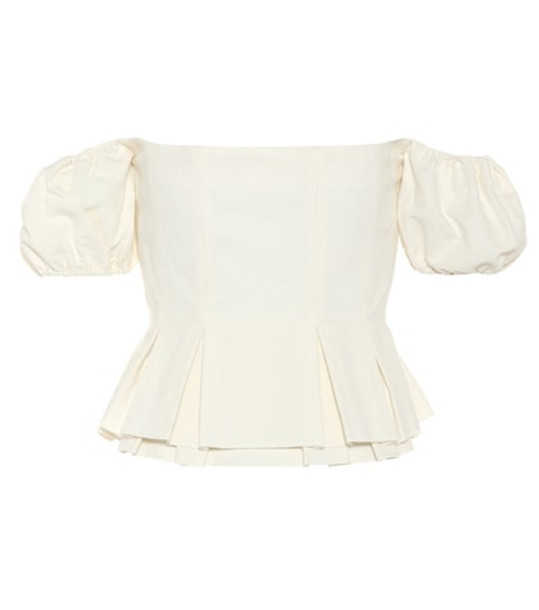 Brock Collection Off-the-shoulder cotton-blend top in beige