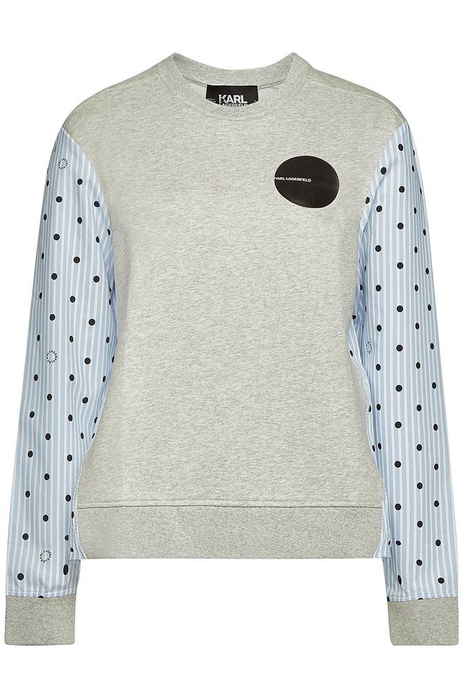 Karl Lagerfeld Karl Dots Cotton Top  in grey