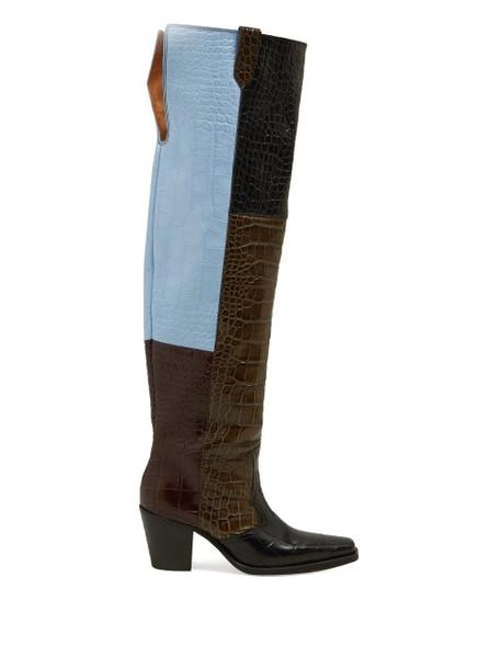 Ganni - Crocodile Effect Leather Knee Western Boots - Womens - Black Multi