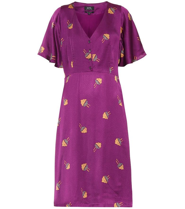A.P.C. Lavinia jacquard dress in purple